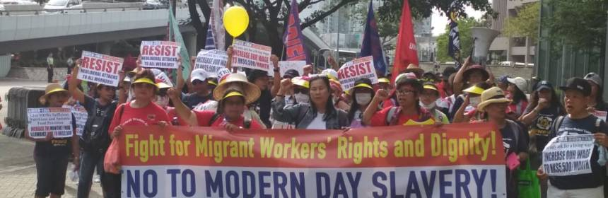 Migrant workers in Hong Kong organized a rally in May Day 2018. Photo: Rizal