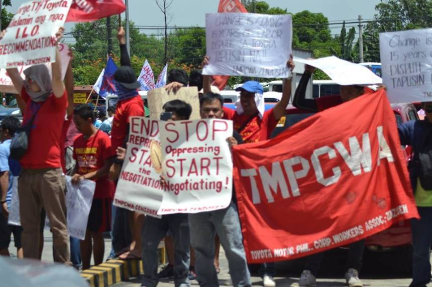 Toyota workers organized strike to protest the illegal dismissal. Photo: TMPCWA